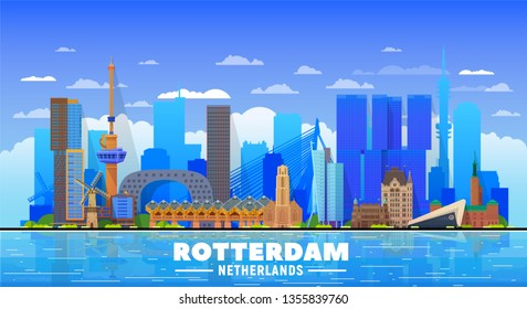 Rotterdam the Netherlands skyline with panorama at sky background. Vector Illustration. Business travel and tourism concept with modern buildings. Image for banner or web site