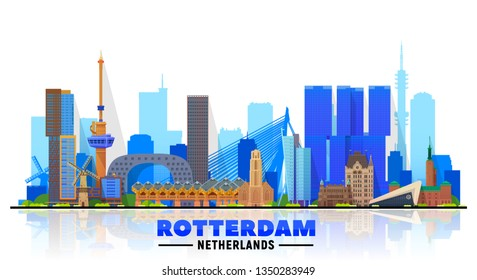 Rotterdam the Netherlands skyline with panorama at white background. Vector Illustration. Business travel and tourism concept with modern buildings. Image for banner or web site