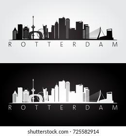 Rotterdam skyline and landmarks silhouette, black and white design, vector illustration.