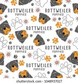 Rottweiler : Dog breed collection : Seamless Pattern : Vector Illustration