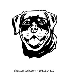 Rottweiler dog Head. Vector illustration