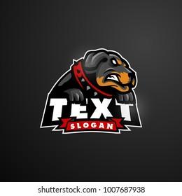 rottweiler dog mascot logo