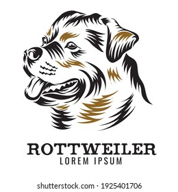 Rottweiler dog vector illustration in woodcut style design, perfect for breeder logo and tshirt design