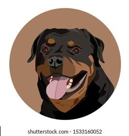 a rottweiler dog, vector portrait