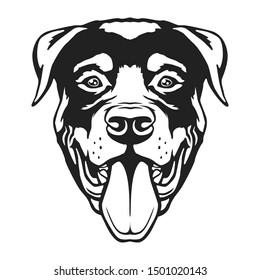 Rottweiler Face Dog. Breed Famous Dog. Cut Vector File. Symbol Illustration Design.