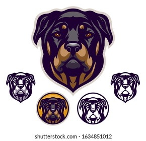 Rottweiler head emblem with four variations.