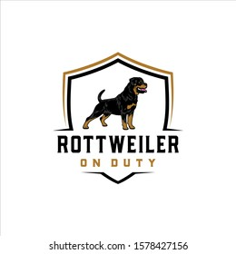 Rottweiler on duty with a shield background