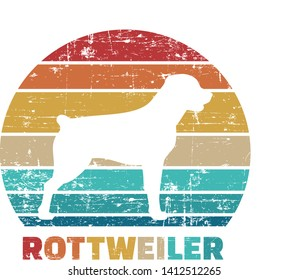Rottweiler silhouette vintage and retro