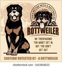 Rottweiler - vector set for t-shirt, logo and template badges on light