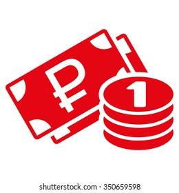 Rouble Cash vector icon. Style is flat symbol, red color, rounded angles, white background.