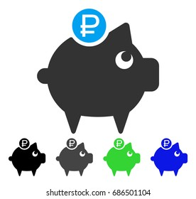 Rouble Piggy Bank flat vector pictograph. Colored rouble piggy bank gray, black, blue, green pictogram versions. Flat icon style for application design.