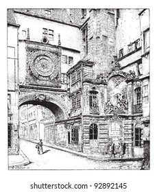 Rouen, the big clock, Normandy, France, vintage engraved illustration. Dictionary of words and things - Larive and Fleury - 1895.