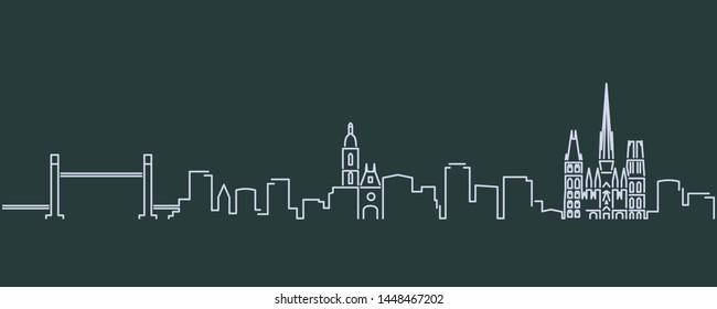Rouen Single Line Skyline Profile