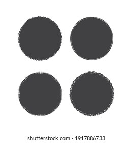 Rough cicle borders set. Round grunge turn box frames. Vector chalk background.