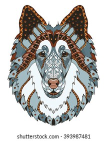 Rough collie dog head zentangle stylized, vector, illustration, freehand pencil, hand drawn, pattern. Zen art. Ornate vector. Lace.