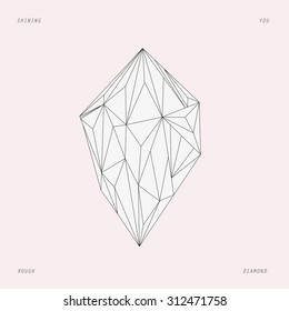Rough diamond, love card, line design, line art, tattoo design, editable vector illustration isolated, EPS 10