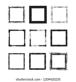 Rough grunge frames set. Square ink torn box. Japanese brush. Vector isolated illustration.