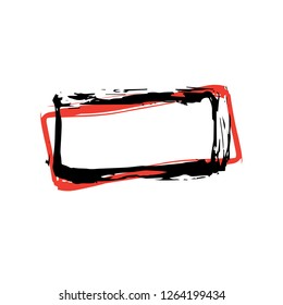 Rough Hand Drawn Square Black and Red Isolated Frame. Paintbrush Border, Vector Doodles Element. Scribble Shape for Messages and Dialogues
