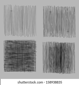 Rough hatching grunge drawing textures set. vector illustration