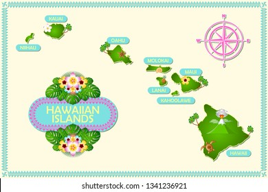 Rough and not detailed Hawaiian islands with traditional folk floral decoration sign.