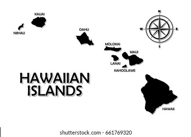 Rough and not detailed Hawaiian islands on white background.