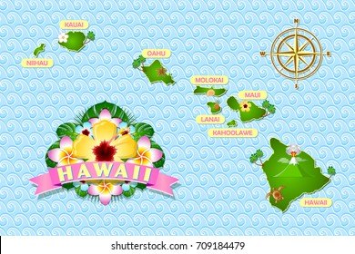 Rough and not detailed Hawaiian islands on the waves of Pacific ocean with traditional folk floral decoration sign.