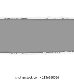 Rough ripped hole in white paper with gray background. Vector paper template.