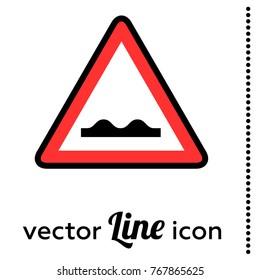 rough road vector  sign icon