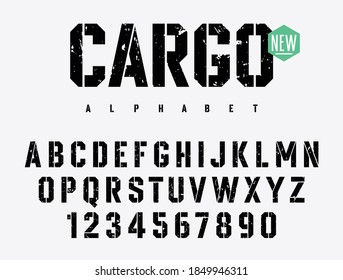 Rough Stamp Stencil typeface. Grunge font. Vector handmade alphabet. Stencil-plate uppercase letters and numbers