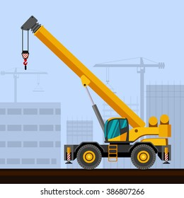 Rough terrain industrial crane with construction background. Side view crane vector illustration