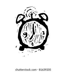 rough woodcut illustration of a alarm