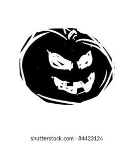 rough woodcut illustration of another halloween evil pumpkin