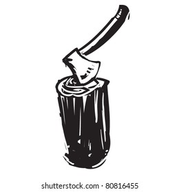 rough woodcut illustration of axe on a stub