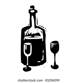 rough woodcut illustration of a bottle with glasses