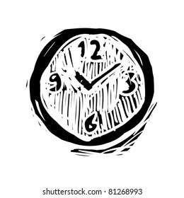rough woodcut illustration of a clock