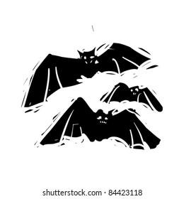 rough woodcut illustration of a halloween bats