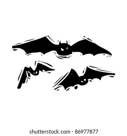 rough woodcut illustration of a halloween bats