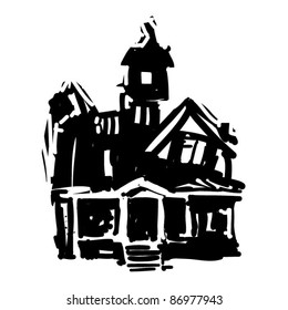 rough woodcut illustration of a halloween castle