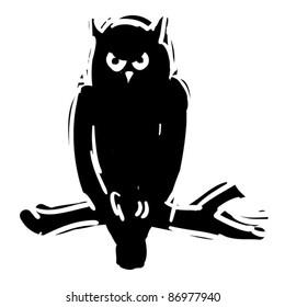 rough woodcut illustration of a halloween owl