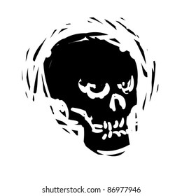 rough woodcut illustration of a halloween skull