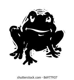 rough woodcut illustration of a halloween toad