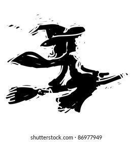 rough woodcut illustration of a halloween witch
