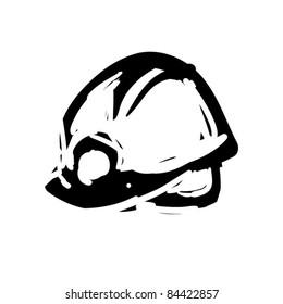 rough woodcut illustration of a helmet