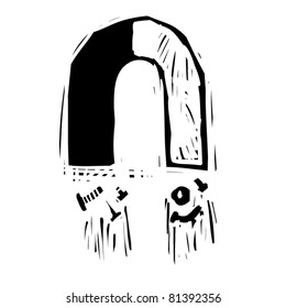 rough woodcut illustration of a magnet