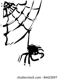rough woodcut illustration of a spider