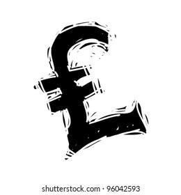 rough woodcut illustration symbol of pound