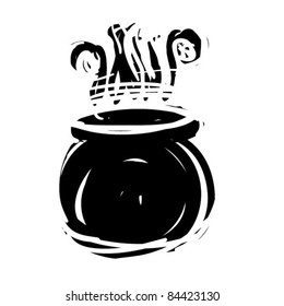 rough woodcut illustration of a witch cauldron