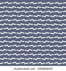 Rough zigzag stripes. Textile pattern in blue and white . Wallpaper. Tile. Vector illustration.