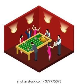 Roulette and gambling with success and loss symbols isometric vector illustration