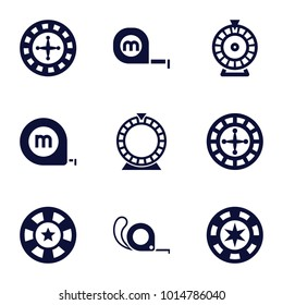 Roulette icons. set of 9 editable filled roulette icons such as roulette, tape, casino chip